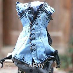 Antique Doll Dress for Fashion Doll Jumeau Bru Silk Lace 1880s w Hood