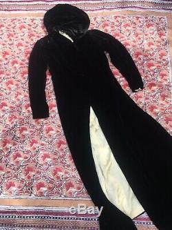 Antique True Vintage 1920's 30's black velvet hooded coat cape Art Deco Goth