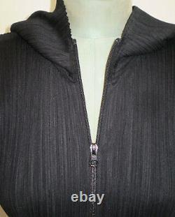 Art Wear PLEATS PLEASE Issey Miyake Japan Black Hooded COAT DRESS Size US 8