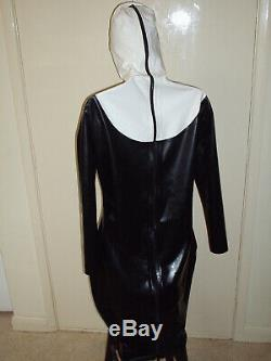 BLACK & CREAM LATEX RUBBER NUN OUTFIT LONG SLEEVE DRESS 14 to 16