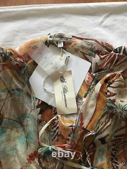 BLUMARINE SS05 Runway NWT Tribal Printed Hooded Crinkle Silk Dress IT42