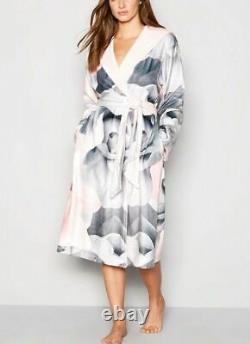 BNWT Ted Baker Grey Floral Print Porcelain Rose Hooded Dressing gown