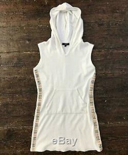 BURBERRY London Womens Towelling Tennis Dress Nova Check Hooded Small White