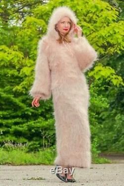 Beige fuzzy mohair sweater dress long soft hoodie hand knit gown SuperTanya