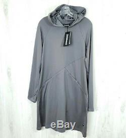 Betabrand Size L Red-Eye Travel Dress Gray Long Sleeve Thumbholes Hooded Pockets