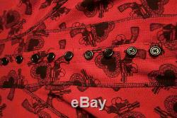 Betsey Johnson Long Sleeve Button Front Red Heart/Gun Hoodie Coat/Dress Thermal