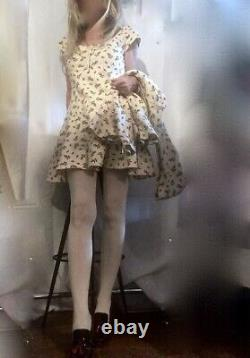 Betsey Johnson Mini Dress & Hooded Jacket Set Vtg Tea Party Rosebud Print Wome M