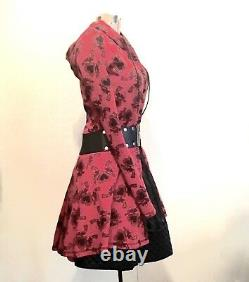 Betsey Johnson Vintage Long Sleeve Button-up Red Heart Gun Hoodie Coat Dress P