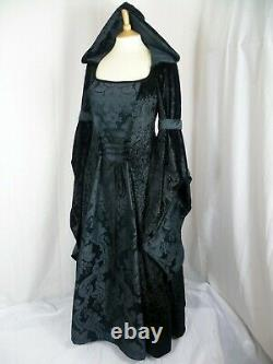 Black Gothic Hooded Dress Renaissance Wedding Medieval Gown Custom Made to size