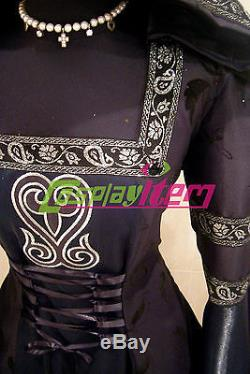 Black Hooded Medieval Gothic Renaissance Dress Gown Costume For Fantasy Party