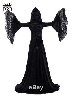 Black Medieval Vampire Hooded Ball Dress Costume Renaissance Vintage Theater