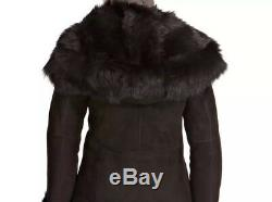 Black Shearling Waterfall 3/4 coat With Hood RRP £1350