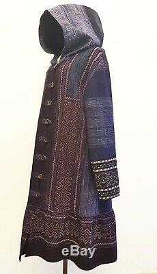 Blue Batik Indigo Hmong Cloth Over Long Coat Hooded Embroidered Unique Vintage