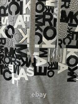 Bnwt Michael Kors Womens Hoodie Monogram Pearl Grey Dress Size Xsmall Rrp £150