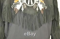 Bogner Hooded Coat Size 6 Suede Sleeves Fringed Black Southwest Head Dress Rare