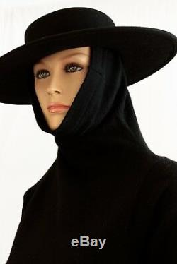 Bonnie Cashin Long Lambswool Knit Dress With Madonna Hood Funnel Neck Maxi 70s M