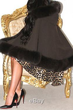 Brown Cashmere Wool MIX Hooded Cape Poncho Wrap Real Fox Fur Trim With Hood