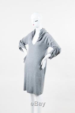 Brunello Cucinelli Gray Cashmere Sequin Hood Draped Sleeve Sweater Dress SZ L