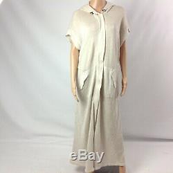 Brunello Cucinelli Women Hooded Sweater Dress Sz M Maxi Long Zip Up Shortsleeve
