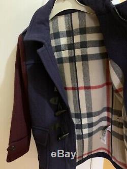 Burberry Boys Navy Blue Wool Dress Coat Size 10 Jacket With Hood
