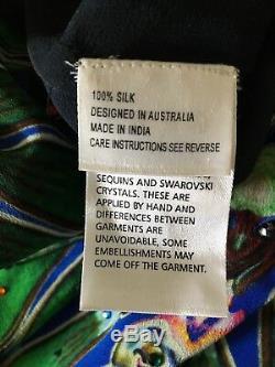 CAMILLA FRANKS Rare JADE Silk Hooded Short Kaftan VGC OSFM Dress Long Top