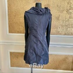 COP. COPINE gray nylon hooded mini dress Small Snap Closure Pockets