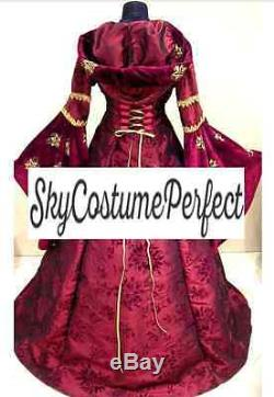 CUSTOM! Medieval Gothic Red Gold Satin hooded Gown Dress Renaissance FREE SHIP