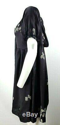 CYNTHIA ROWLEY Black Silk Fingerprint Hoodie Empire Tunic Dress $310 Large 12/14