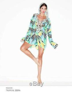 Camilla Franks Silk Swarovski Tropical Zebra Long Sleeve Hooded Kaftan Dress