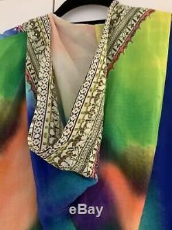 Camilla Franks Vintage Multicolour, Silk Short V Neck Kaftan With Hood