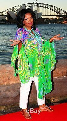Camilla Women's Banshee Print Embellished Silk Hooded Kaftan Dress when by Oprah