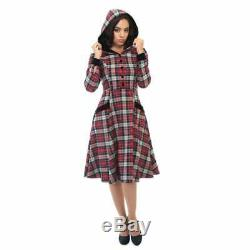 Collectif Vintage plaid hooded red dress 1940s small 1950s long sleeve velvet