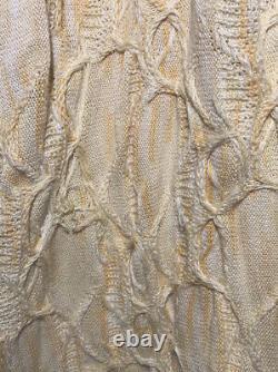 Coogi Australia Hooded Sweater Dress Chunky Knit Zip Logo Large L YellowithCream