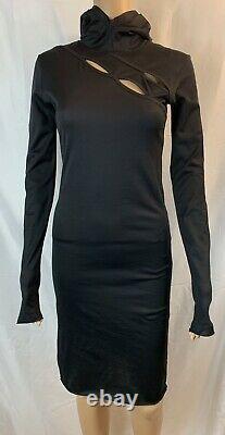 DEMOBAZA HOODIE FIT BLACK DRESS, KEYHOLES, Womens Size Small Long Sleeves NWOT