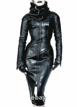 Damen Real Leder Gothic Bodysuit separate Zipper Hood SteamPunk Leder Dress