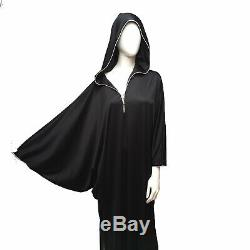 David Brown Caftan Hooded Goth Black Batwing Sleeve Dress Robe Loungewear Vtg