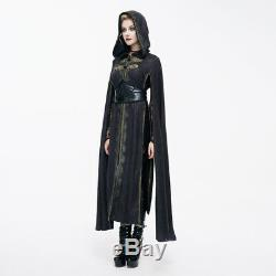 Devil Fashion Women Long Jacket Embroidery Hooded Halloween Sleeve Dress