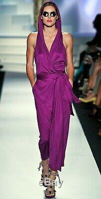 Diane Von Furstenberg Avram Maxi Wrap Dress 100% Silk US Sz 0 Purple Runway