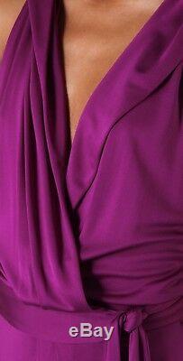 Diane Von Furstenberg Avram Maxi Wrap Dress 100% Silk US Sz 10 NWT Purple Runway