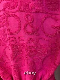 Dolce & Gabbana D&G beach dress hooded towel bath robe poncho cover up M UK12US8