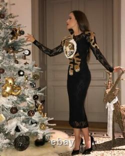 Dolce and Gabbana D&G black Sicilian lace tiger shawl dress +case IT40UK8EU34US4