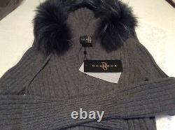 Dom Goor Cable Grey Cashmere cable knit Dress with Fur on hood Size 8 Grey NWT