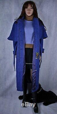 Donegal Tweed Hooded Dress Coat Hourihan Look Feel Angora Cashmere Silk Sz M