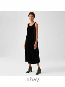 EILEEN FISHER Womens Black Sleeveless Scoop Neck Tea-Length Shift Dress Size L