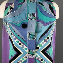 EMILIO PUCCI Vintage Size 10 Blue & Purple Hooded A Line Mini Dress