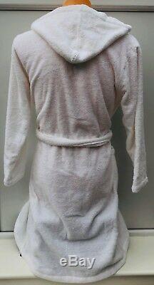 EMPORIO ARMANI EA7 Chest Logo White Hooded Robe Dressing Gown Size S BNWT
