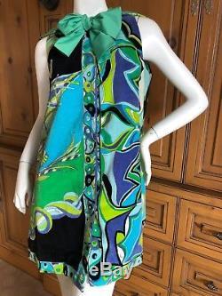 Emilio Pucci Vintage 1960's Terry Cloth Velvet Beach Wrap Dress with Hood