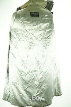 F10067 Hooded Gray Persian Lamb Real Fur Women XS Long Coat Black Suede Leather