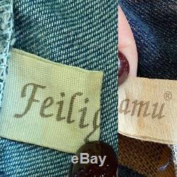 Feiligamu Womens Denim Dress Blue Jean Plaid Hooded Hoodie LAGENLOOK Art-to-Wear