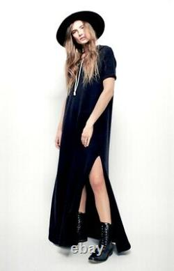 Free People Beach Maxi Dress Ocean Ave Hood Nubby Oversized Washed Black S NWT